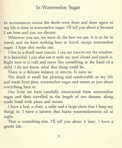 In Watermelon Sugar, Richard Brautigan